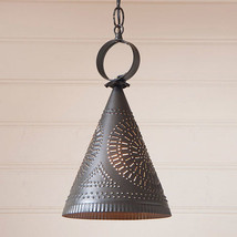 Primitive new kettle black Madison punched tin hanging light / nice - $74.44