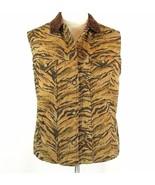 Coldwater Creek Size 2X Tiger Print Vest Boucle Collar - $14.99