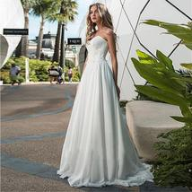 Modest Chiffon Sweetheart Neckline A-line Wedding Dresses Ruched Bodice with Lac image 3