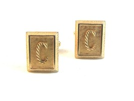 Vintage Gold Tone Initial C Cufflinks Signed Shields - $18.99
