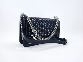 AUTHENTIC CHANEL BLACK PATENT QUILTED LEATHER NEW MEDIUM BOY FLAP BAG PLEXIGLASS image 2