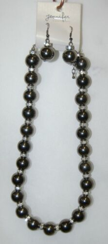 Jennifer Company HS1002BN Gray Half Inch Beads 17 Inch Necklace Earring Set
