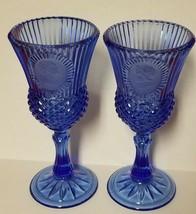 VINTAGE Fostoria Avon 1976 George & Martha Washington Blue Glasses Goblets - $6.44