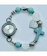 Geneva Turquoise Cross Beaded Stretch Bracelet Women's Watch - $19.25