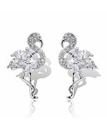 925 Sterling Silver Full of Crystal Rhinestones Flamingo  Bird Stud Earr... - $18.52