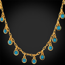 Necklaces '18K' Gold Plated Turquoise N746 - $26.99