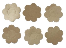 NEW 3 PCS WOMEN'S FULLNESS SELF ADHESIVE BREAST PETALS NIPPLES COVER BEIGE #2006
