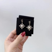 SALE* NEW AUTHENTIC Chanel 2019 Gold CC Pearl Crystal Piercing Earrings RARE image 5
