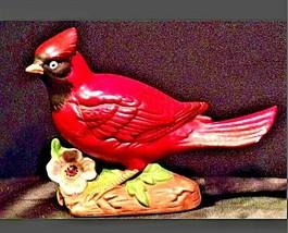 Vintage red cardinal bird handmade animal figurine AA19-1420 image 2