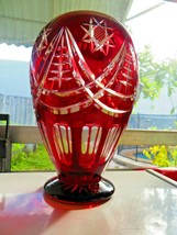 Ruby red clear cut glass display vase beautiful designs and beautiful in... - $61.56