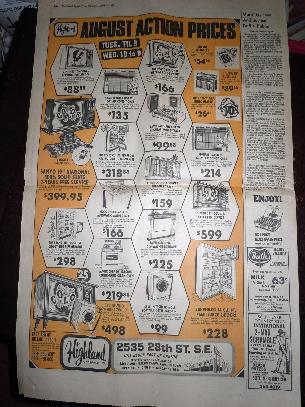 Vintage The Grand Rapids Press Nixon's Supporters Falling & Comics Aug 6 1974 image 9