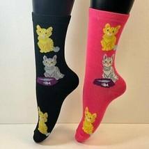 2 PAIRS Foozys Women's Socks, CAT & YARN BALL Print, NEW - $8.99