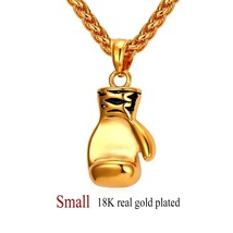 U7 Boxing Glove Necklaces & Pendants Gold Color Stainless Steel Fitness Sport Me - $20.67