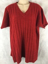 Denim & Co Red Sweater Short Sleeve Size Large Soft - $16.78