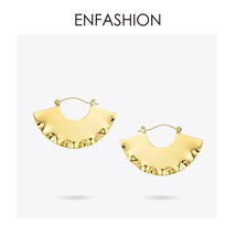 Fan Geometric Drop Earrings For Women Gold Color Curve Big Dangle Earing... - $28.50