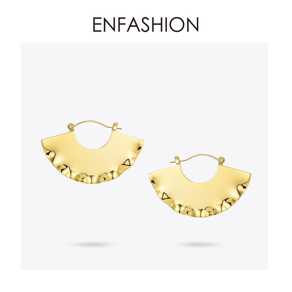Primary image for Fan Geometric Drop Earrings For Women Gold Color Curve Big Dangle Earings Fashio