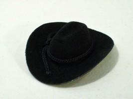 """NWOT BLACK FLOCKED COWBOY HAT FOR 8"""" MEGO ACTION FIGURE 1/9 SCALE WESTERN - $15.63"""