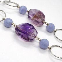 SILVER 925 NECKLACE, FLUORITE OVAL FACETED PURPLE, CHALCEDONY, 27 5/8in image 5