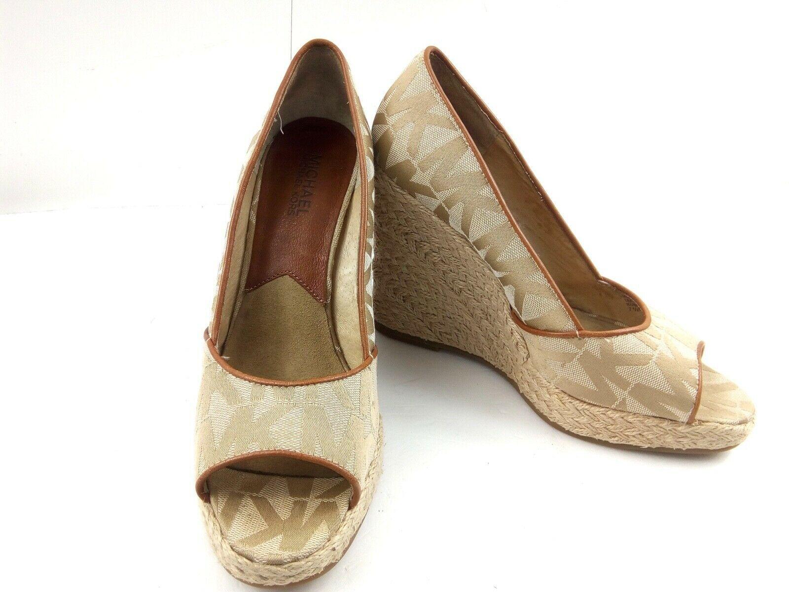MICHAEL KORS Womens Wedges 7.5 Tan Cabana Peep Toe Platform Espadrilles $144