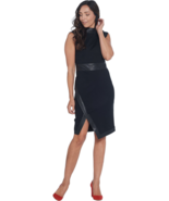 Lisa Rinna Collection 0 Ponte Dress with Faux Leather Trim Black - $29.63