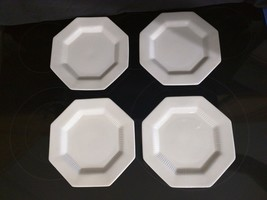 4 White Independence Ironstone by InterpaceOctagonal Bread/ Lunch/ Sala... - $21.78