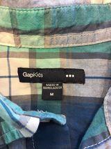 Gap Kids Boy's Blue, Green & White Plaid Short Sleeve Dress Shirt - Size: Medium image 4