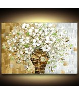 White Flowers Bouquet Still Life fine art PRINT on stretched canvas larg... - $245.00