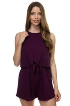One Piece Purple Plum Sleeveless Romper Ribbed Front Tie Shorts Jumpsuit... - $30.62 CAD