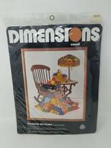 Dimensions Crewel 1165 Patchwork Quilt And Rocker Chair Cat Cross Stitch Kit Set - $24.74