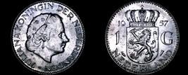 1957 Netherlands 1 Gulden World Silver Coin - Juliana - $10.75