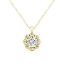 1.79CT Created Diamond 14K Yellow Gold Flower Migraine Halo Pendant Neck... - $266.31