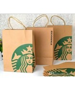 Lot X 20 Starbucks Reusable Brown Paper Shopping Lunch Gift Bags With Ha... - $12.57