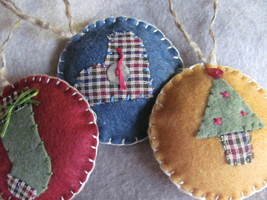 Country Felt Ornaments - $12.00