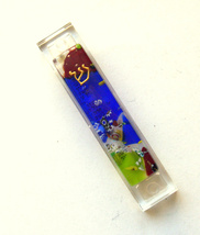 Murano Glass Handmade Mezuzah Case with 6.5 cm Scroll Dark Blue Murrina Italy image 1