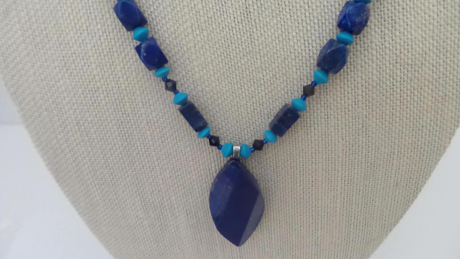Sale! Lapis Pendant Turquoise Swarovski Necklace Earrings Sterling Handmade