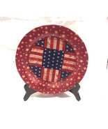 """Patriotic Flag Star 10"""" Glass Plate Red, White, Blue Decoupage Glass Plate - $10.99"""