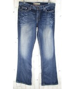 Buckle womens Jeans Drew 29X33.5 Blue Distressed Boot Thick Stitch (35x3... - $22.00