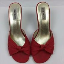 Steve Madden P-Carrie Red Canvas Upper Heels Shoes Slides Heel 8.5M - $9.89