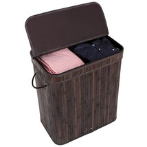 Bamboo Laundry Hamper Basket Lid 2 Section Clot... - $42.03