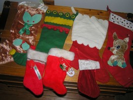 Antique Lot of Felt Plush Handmade & Not Reindeer Holly Baby Christmas S... - $18.49