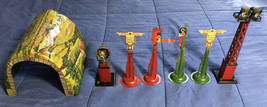 Seven Vintage Toy Train Tin Lithograph Signs / Lights & Covered Bridge O... - $29.69