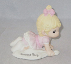 Precious Baby Girl Moments Crawling Blonde Hair Pink Dress Bow Figurine ... - $36.62