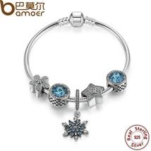 BAMOER Summer Collection 925 Sterling Silver Blue Charm Bracelet With Ra... - $70.99+