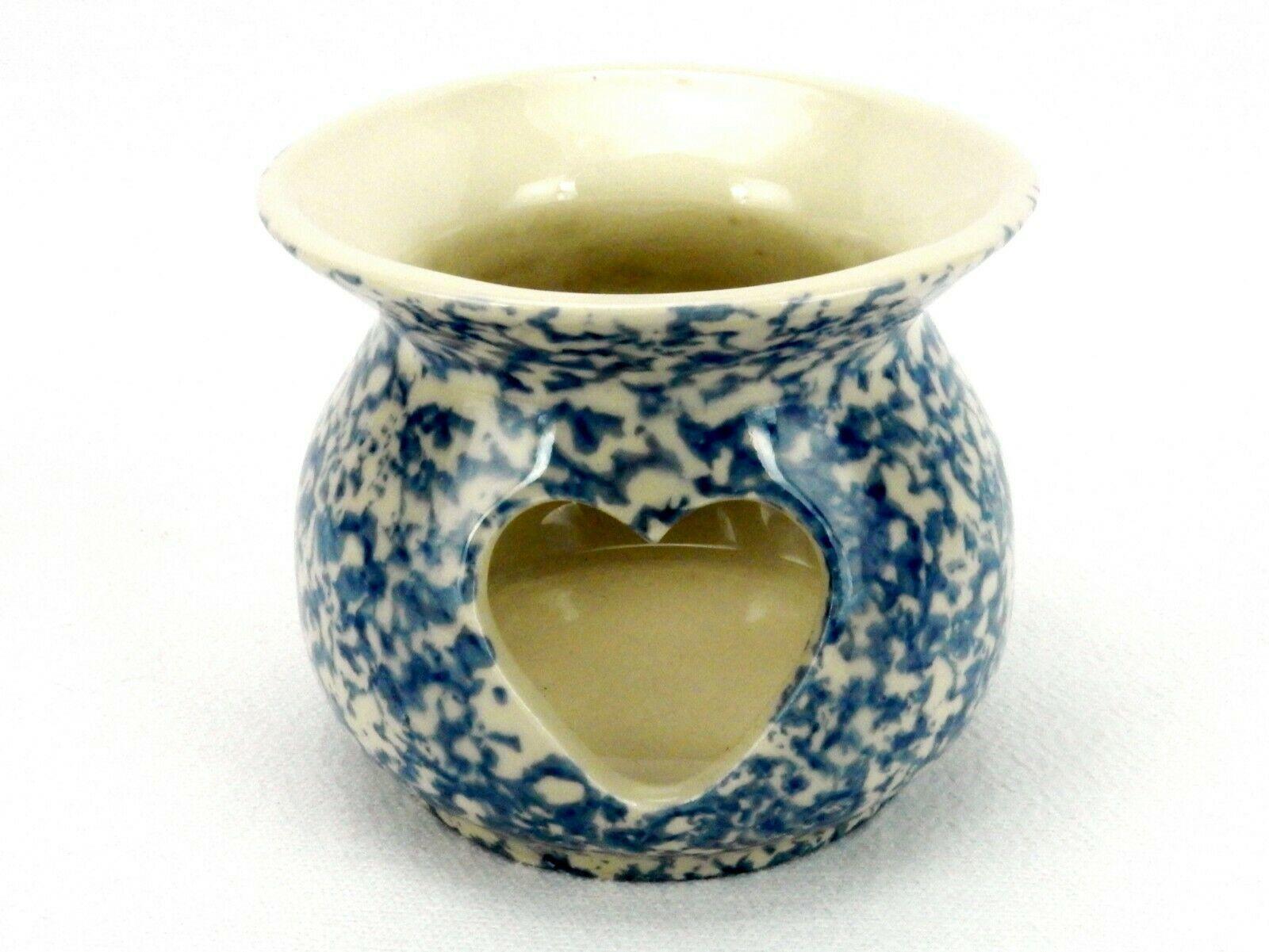 Blue Spongeware Heart Votive/Tealight, Roseville Pottery, Gerald Henn Workshops - $24.45