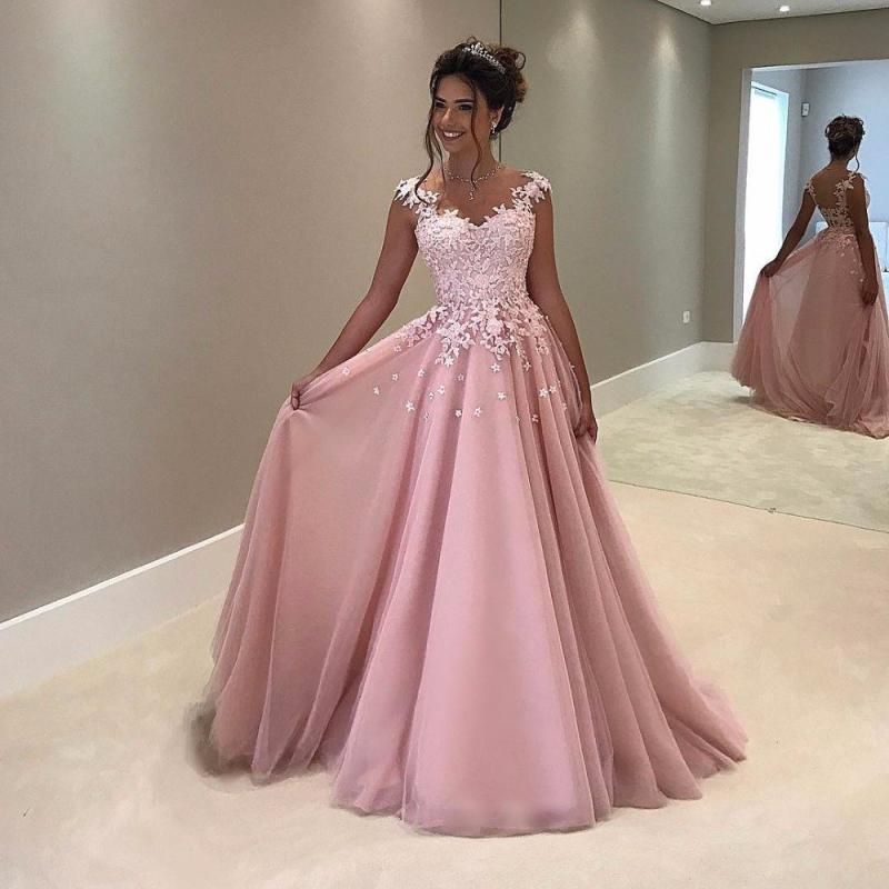 Pink Prom Dress with Ivory Lace Long Formal Evening Gown Homecoming Dress Cheap