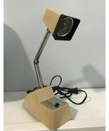 vintage desk table lamp light adjustable mid century modern tan - $49.49