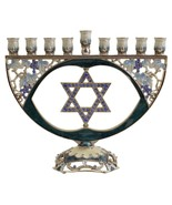 Menorah Jeweled Hanukkah Candle Holder with Star of David - $59.95