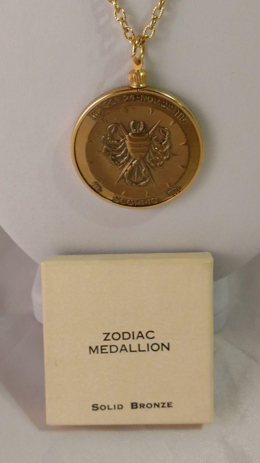 SCORPIO Zodiac Medallion Solid Bronze with Chain Necklace - also Bicentennial