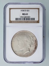 1934-D $1 Silver Peace Dollar Graded by NGC as MS-63! Gorgeous Peace Dol... - $346.49