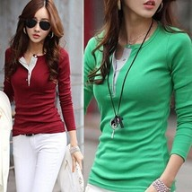 Fashion Women's Ladies Slim Tops Long Sleeve Tee Shirt Casual Blouse